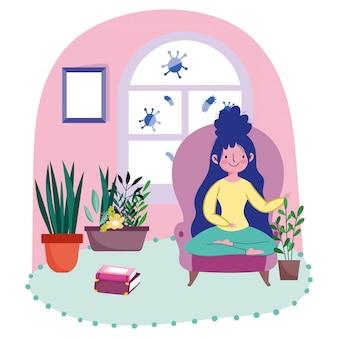 本や植物を椅子に座っている若い女性 Premiumベクター