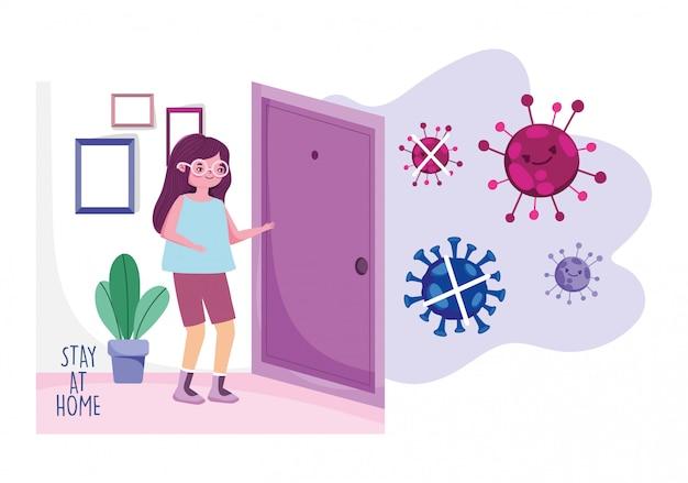 家にいる、部屋にいる若い女性家検疫防止、covid 19