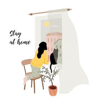 Оставайся дома. молодая женщина смотрит в окно. иллюстрация