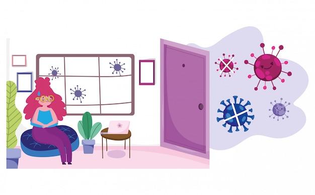 Сиди дома, молодая женщина отдыхает в гостиной, защита, карантинная профилактика, ковид 19