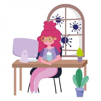 家にいる、コーヒーカップの検疫防止、コンピューター19でコンピューターを見て若い女性