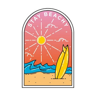 Stay beachy monoline badge 디자인