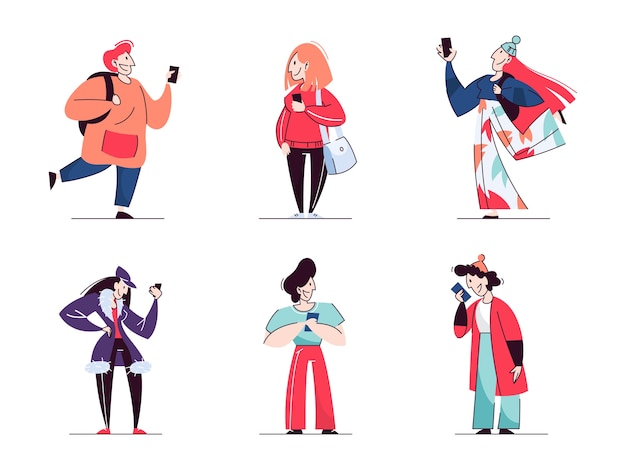 Stay connected concept set. people chat in mobile phone. idea of modern technology and global communication.   illustration