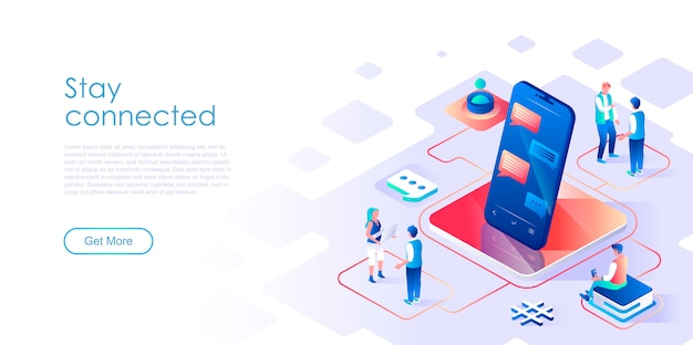 Stay connected isometric landing page template