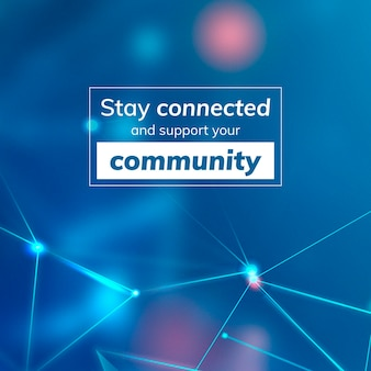 Stay connected and support your community social banner template vector