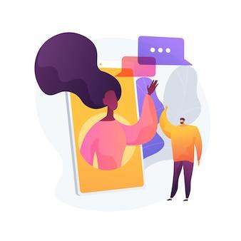 사람들이 추상적 인 개념 벡터 일러스트 레이 션에 연결 상태를 유지하십시오. 자기 고립, 소셜 미디어 연결, 친구 모임, 온라인 커뮤니케이션, 사회적 거리, 집에서 추상적 인 은유.