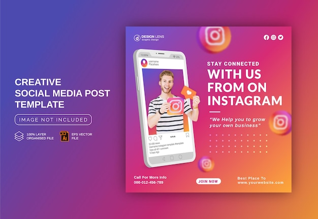 Stay connected with us on instagram to grow your business social media post template