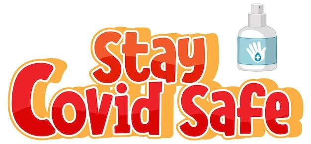 Stay covid safe font in stile cartone animato isolato su sfondo bianco