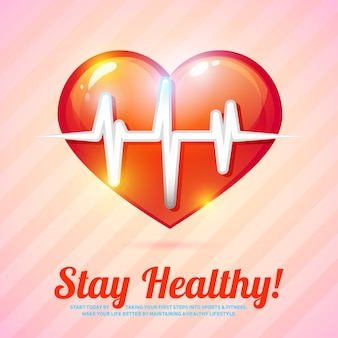 Stay healthy card. healthy lifestyle with heart beat vector illustration