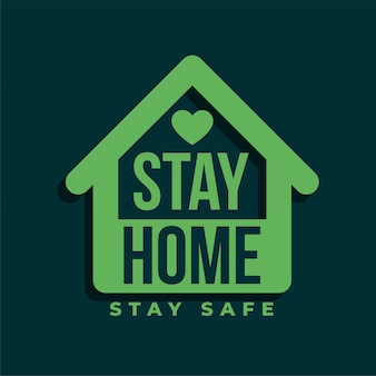 집에 머물면서 안전한 녹색 심볼 디자인 유지