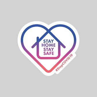 Оставайтесь дома и оставайтесь в безопасности с логотипом.