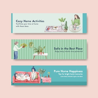 Stay at home banner concept with people character make activity,gardening,relaxing illustration watercolor design