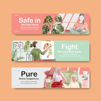 Stay at home banner concept with people character make activity,reading book,stay family illustration watercolor design