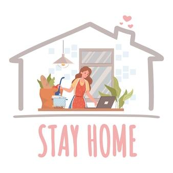 홈 배너 개념을 유지하십시오. 여자 요리와 격리 및 자기 격리 그림 동안 노트북에서 작동합니다.