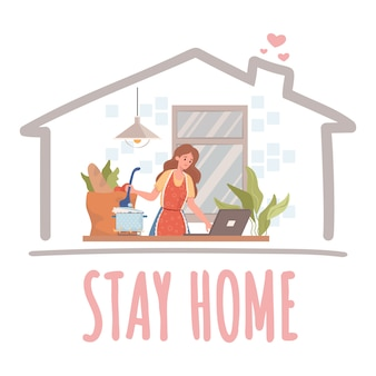 Stay home banner concept. woman cooking and working on laptop during quarantine and self isolation   illustration.