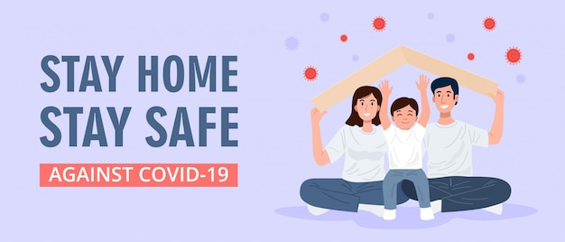 Stay home banner, happy familly holding roof mockup over their heads. vector