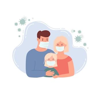 家にいるバナーテンプレート。ウイルス武漢covid-19を防ぐための保護医療マスクを身に着けている家族。武漢コロナウイルスのベクトル図。