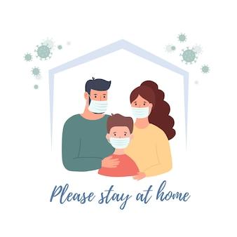Stay home banner template. family wearing protective medical mask for prevent virus wuhan covid-19. wuhan coronavirus vector illustration.