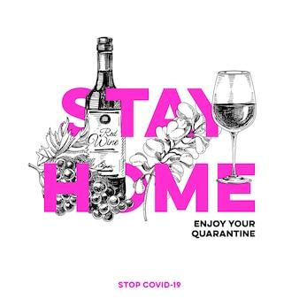 Оставайтесь дома, лучшая защита от вирусной инфекции covid-19, рисованная ретро иллюстрация.