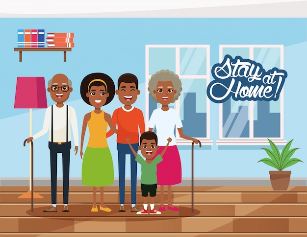 Stay at home campaign with afro family members