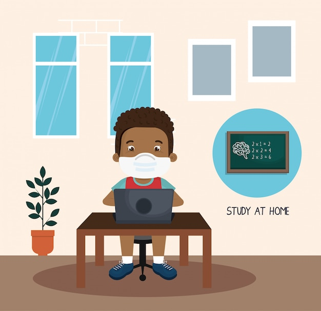 Stay at home campaign with boy afro studying online illustration design