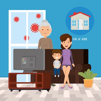Stay at home campaign with family watching tv