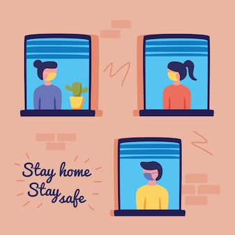Stay home campaign  with group of people in windows vector illustration design