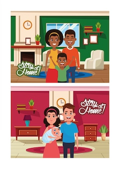 Stay at home campaign with interracial families members