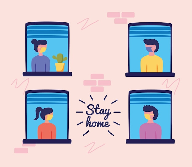 Stay home campaign  with people in windows vector illustration design