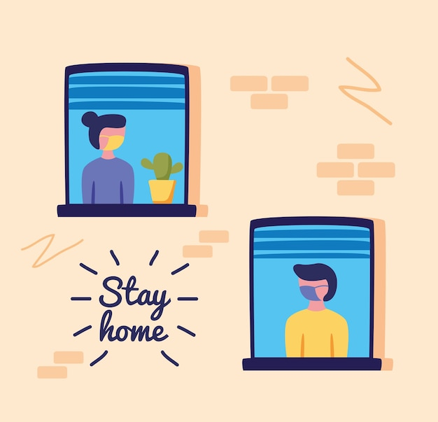 Stay home campaign  with persons in windows of building vector illustration design