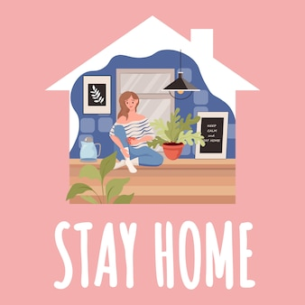 Stay home card template. woman sitting on the kitchen and drinking tea during global outbreak of coronavirus.