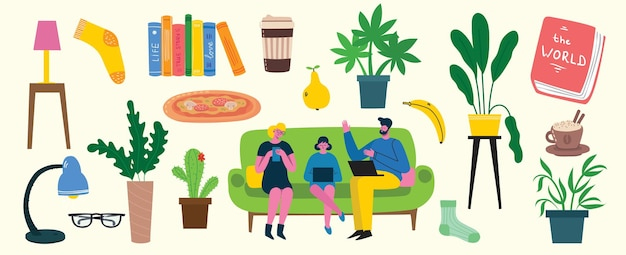 Stay home collection, indoors activities, concept of comfort and coziness, set of isolated vector illustrations, scandinavian hygge style, isolation period at home in the flat style