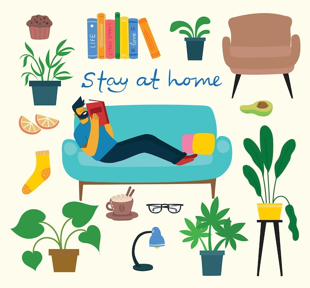 Stay home collection, indoors activities, concept of comfort and coziness, set of isolated
