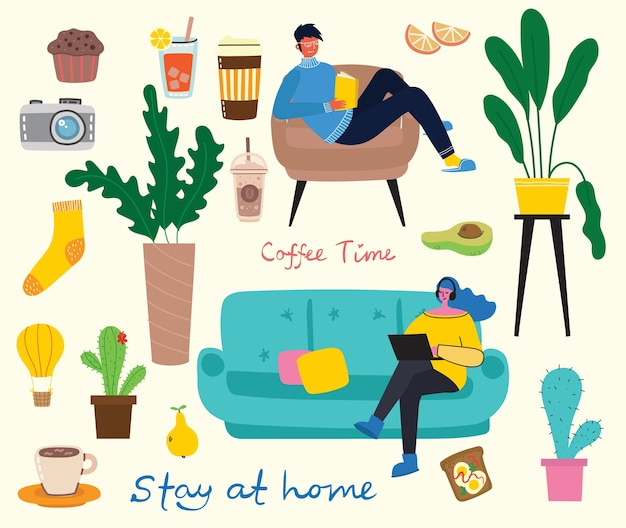 Stay home collection, indoors activities, concept of comfort and coziness