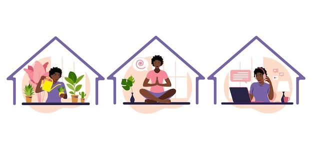 집 개념을 유지하십시오. 아프리카 소녀는 실내 화분 용 화초를 돌보고 요가와 명상을하는 노트북에서 일합니다. 자가 격리, 코로나 바이러스로 인한 격리.