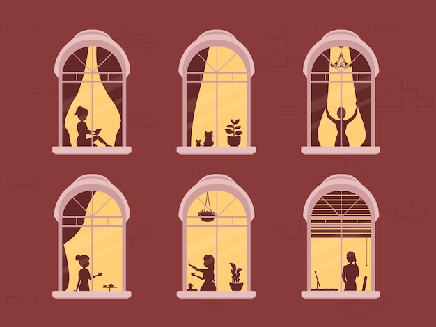Stay at home, concept design. different types of people, family, neighbors in their own houses.  illustration evening home scene, silhouette or shadow people in window