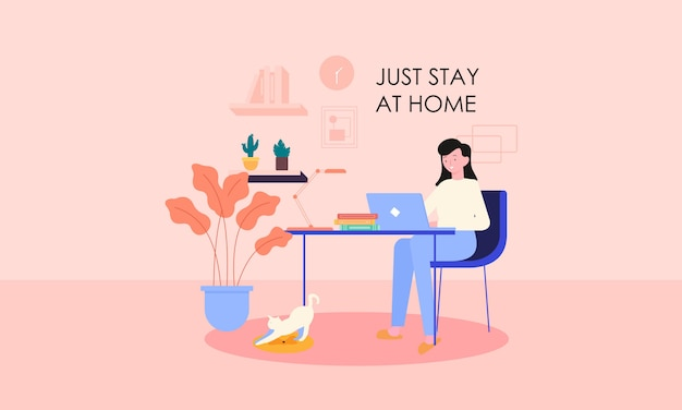 Stay at home concept flat design illustration