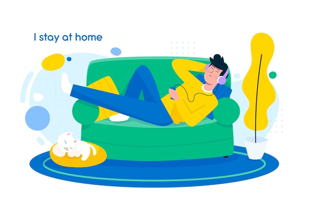 Stay at home concept in flat design