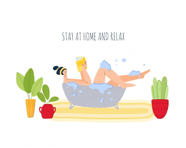 Stay home concept - girl takes a bath and reads book, resting, home activities for people