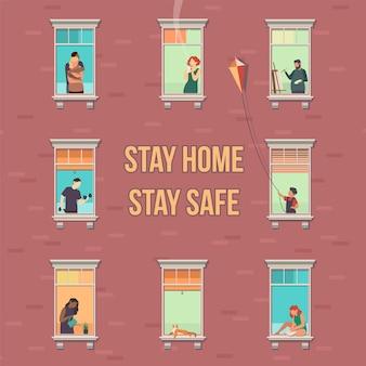집 개념을 유지합니다. 창문이 있는 집 외관, 사람들은 아파트 밖을 내다보고, 격리 기간 동안 아파트에서 취미를 하는 캐릭터, 텍스트가 있는 코비드-19 전염병 예방 만화 플랫 벡터 일러스트레이션