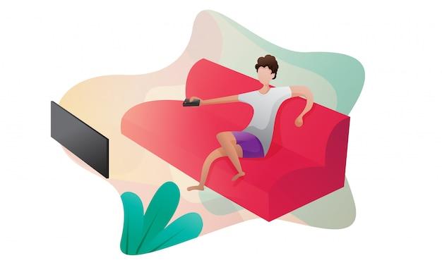 ホームコンセプトイラストをご利用いただけます。男はテレビを見ています。