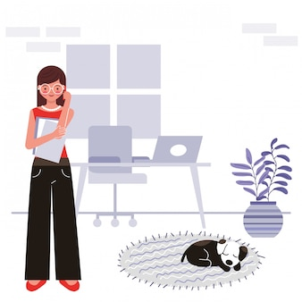 Stay at home concept illustration