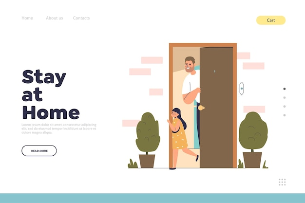 Stay at home concept of landing page