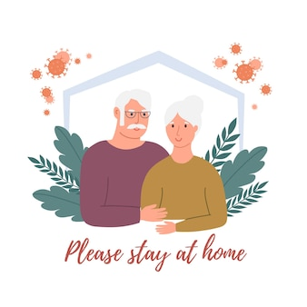 Stay home concept. old man and old woman are at home in isolation on quarantine. global viral epidemic or pandemic. vector illustration