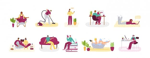Концепция «оставайся дома» - люди и домашние занятия в течение времени изоляции каоронина коронавируса ковид-19