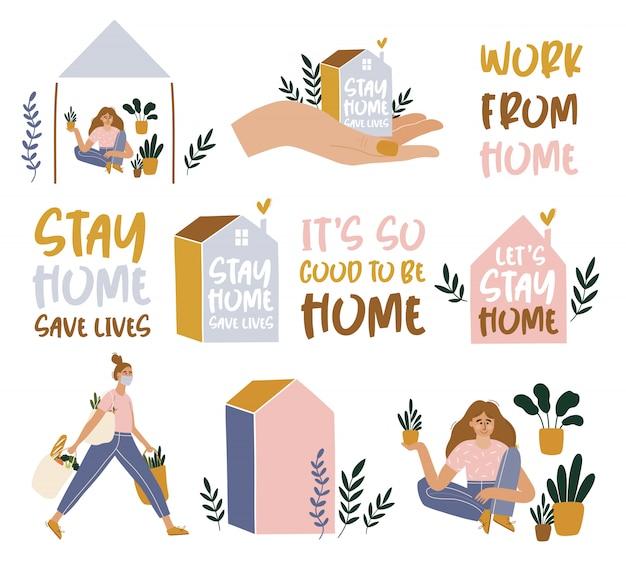 Оставайтесь дома концепции с домом и девушкой.