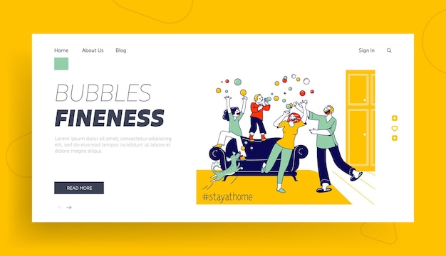 Stay home concept with mom, dad dog and children landing page template.