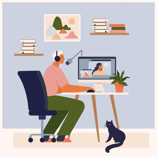 Stay at home concept with person recording podcast show Premium Vector