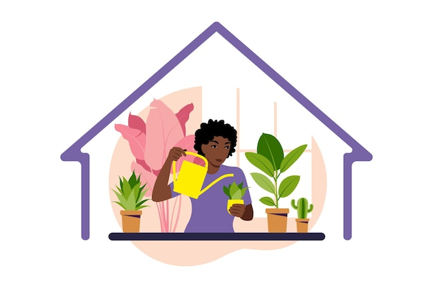Stay home concept. woman watering houseplants at home. home garden and houseplants concept. flat   illustration.