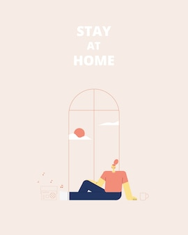 Stay home concept. young woman sitting at their home or room and listening to music.   illustration.